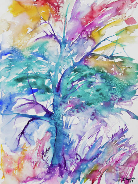 Painting - Watercolor - Colorful Abstract Tree by Cascade Colors