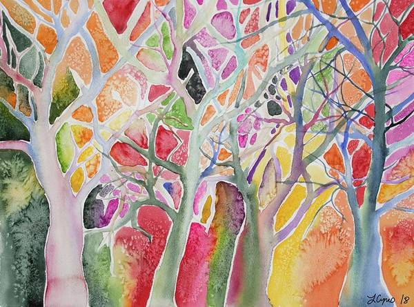 Painting - Watercolor - Colorful Whimsical Trees by Cascade Colors