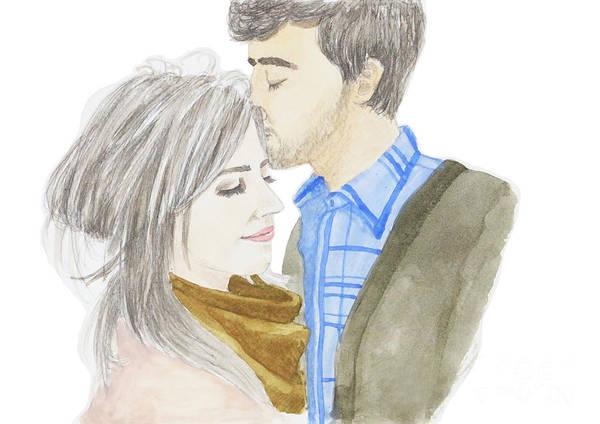 Painting - Watercolor Couple In Love by Rasirote Buakeeree