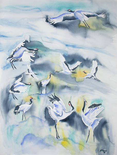 Painting - Watercolor - Crane Ballet by Cascade Colors