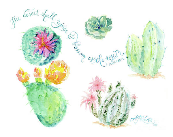 Wall Art - Painting - Desert In Bloom 1, Watercolor Desert Cacti N Succulents Inspirational Verse by Audrey Jeanne Roberts