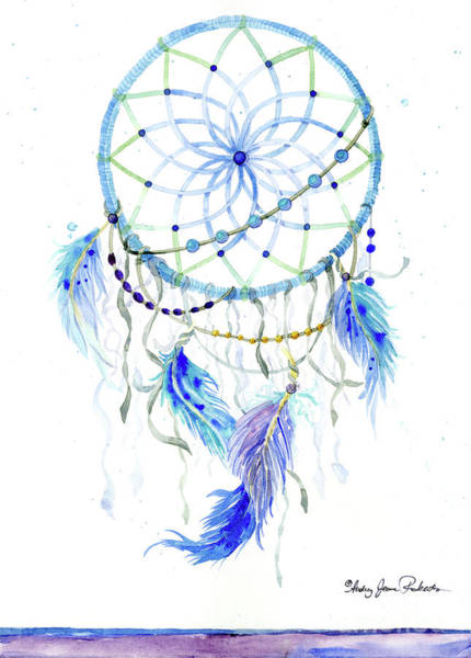 Wall Art - Painting - Watercolor Dream Catcher Lavender Blue Feathers 1 by Audrey Jeanne Roberts
