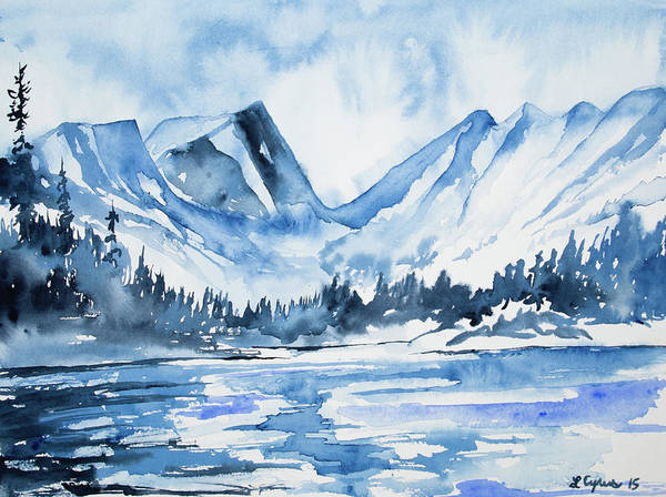 Painting - Watercolor - Dream Lake Winter Landscape by Cascade Colors