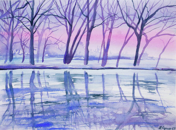 Painting - Watercolor - Early Winter Woodland Reflection by Cascade Colors