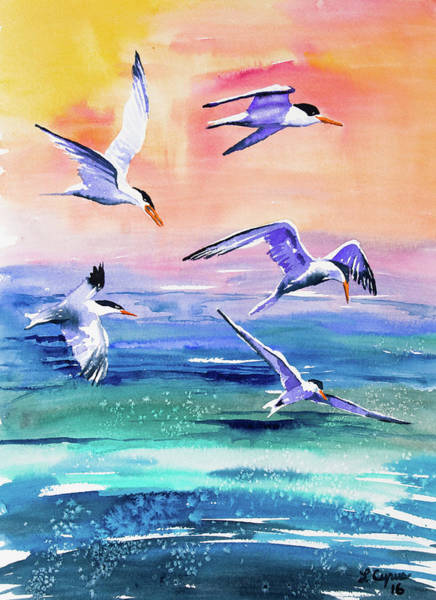 Painting - Watercolor - Elegant Terns Over The Ocean by Cascade Colors