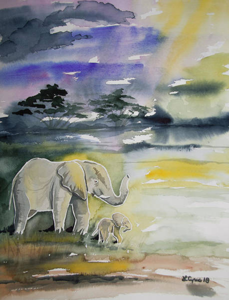 Painting - Watercolor - Elephant With Baby by Cascade Colors