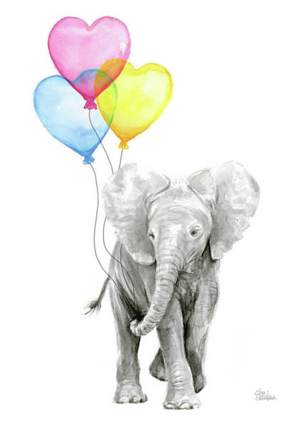 Nursery Painting - Watercolor Elephant With Heart Shaped Balloons by Olga Shvartsur