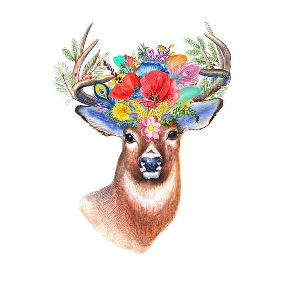Painting - Watercolor Fairytale Stag With Crown Of Flowers by Modern Art