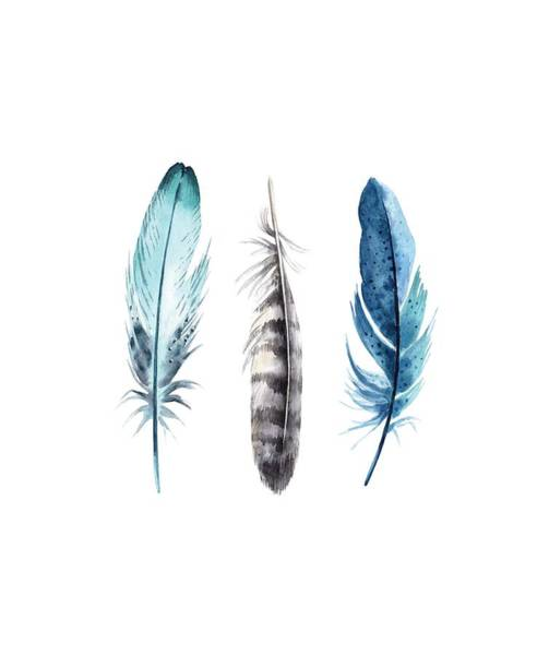 Boho Wall Art - Digital Art - Watercolor Feathers by Jaime Friedman