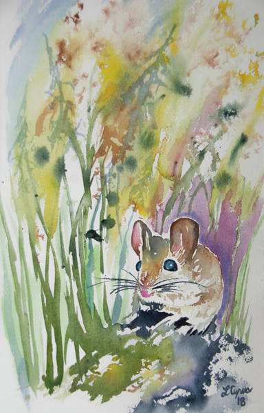 Painting - Watercolor - Field Mouse At Rest by Cascade Colors