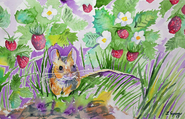 Painting - Watercolor - Field Mouse With Wild Strawberries by Cascade Colors