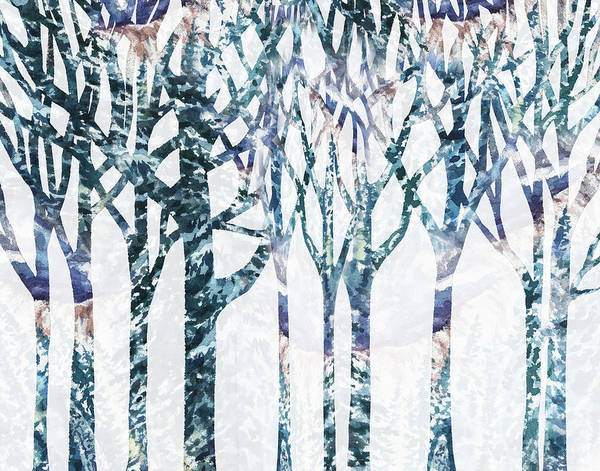 Into The Woods Wall Art - Painting - Watercolor Forest Silhouette Winter by Irina Sztukowski