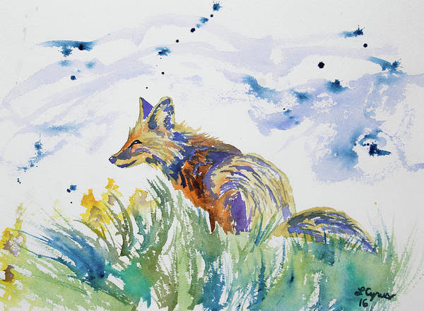 Painting - Watercolor - Fox On The Lookout by Cascade Colors
