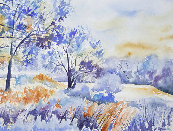 Painting - Watercolor - Frost And Snow Filled Winter Morning by Cascade Colors