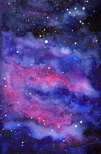 Constellation Wall Art - Painting - Watercolor Galaxy Pink Nebula by Olga Shvartsur