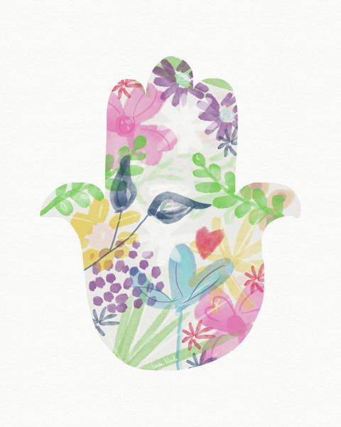 Wall Art - Painting - Watercolor Garden Hamsa- Art By Linda Woods by Linda Woods