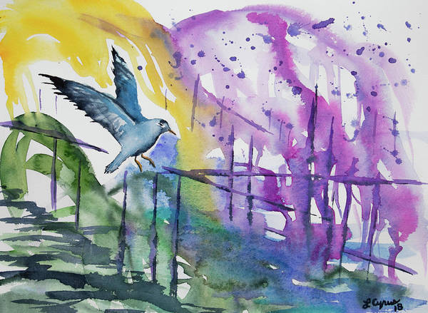 Painting - Watercolor - Gull And Marina Impression by Cascade Colors