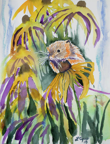 Painting - Watercolor - Harvest Mouse And Wildflowers by Cascade Colors
