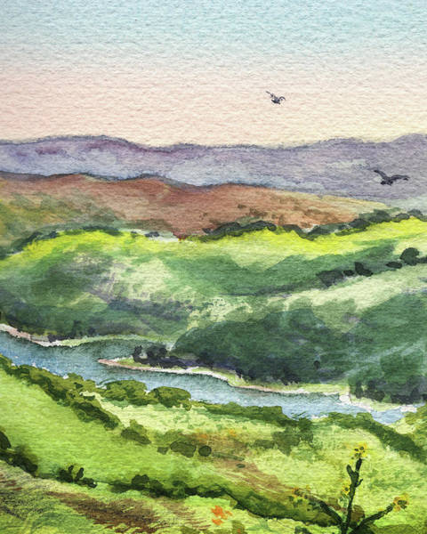 Painting - Watercolor Hills Of California by Irina Sztukowski