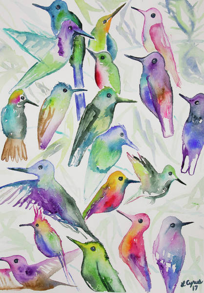 Painting - Watercolor - Hummingbirds by Cascade Colors