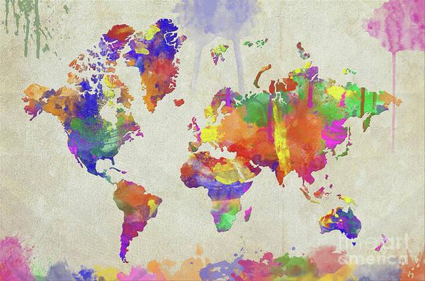 New Trend Digital Art - Watercolor Impression World Map by Zaira Dzhaubaeva