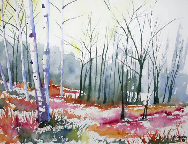 Painting - Watercolor - Late Autumn Forest by Cascade Colors