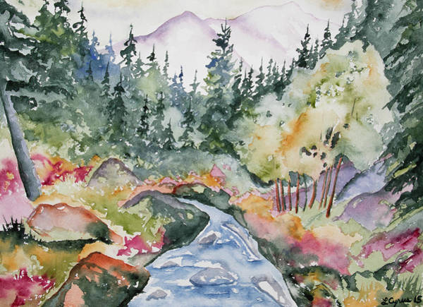 Painting - Watercolor - Long's Peak Autumn Landscape by Cascade Colors