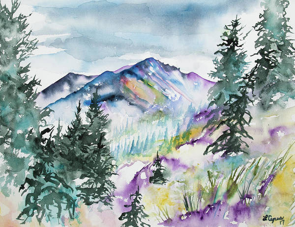 Painting - Watercolor - Long's Peak Summer Landscape by Cascade Colors