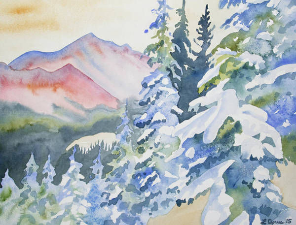 Painting - Watercolor - Long's Peak Winter Landscape by Cascade Colors