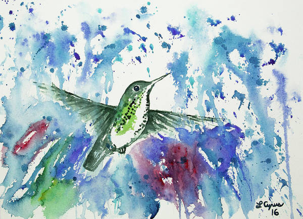 Painting - Watercolor - Many-spotted Hummingbird Flying In The Rain by Cascade Colors