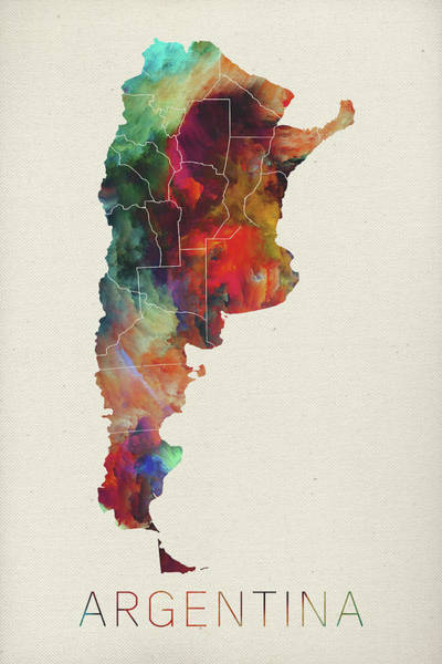 South America Mixed Media - Watercolor Map Of Argentina by Design Turnpike