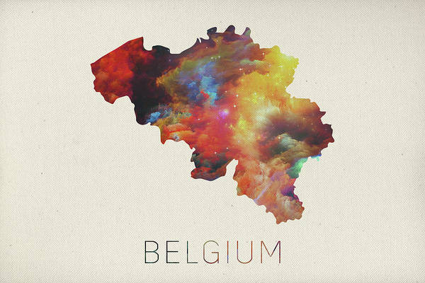Belgium Mixed Media - Watercolor Map Of Belgium by Design Turnpike