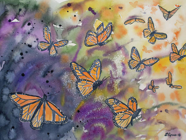 Painting - Watercolor- Monarchs In Flight by Cascade Colors