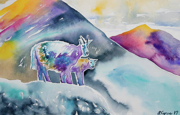 Painting - Watercolor - Mountain Goat Parent With Young by Cascade Colors