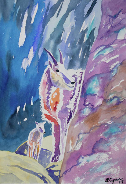 Painting - Watercolor - Mountain Goat With Young by Cascade Colors