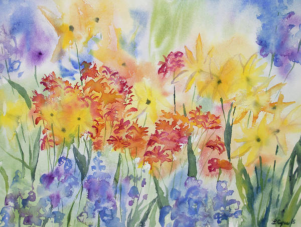 Painting - Watercolor - Mountain Wildflower Impressions by Cascade Colors