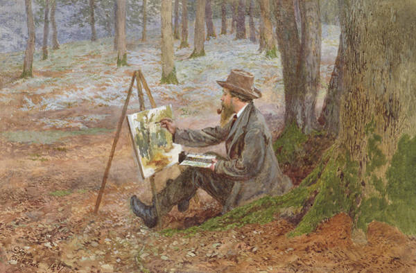 Wall Art - Painting - Watercolor Painting In The Woods At Knole Park by Charles Green