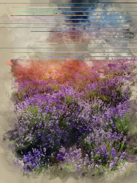 Lavender Mist Wall Art - Photograph - Watercolor Painting Of Beautiful Dramatic Misty Sunrise Landscap by Matthew Gibson
