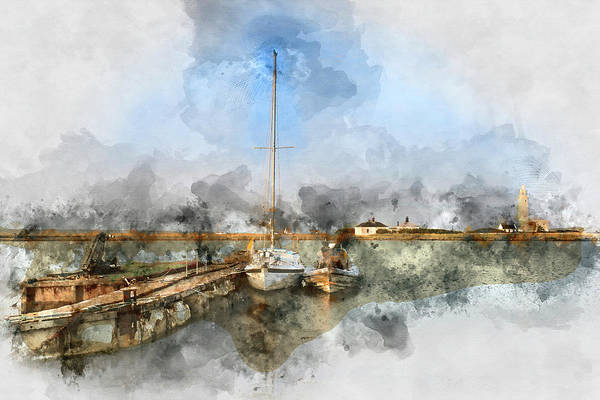 Hurst Wall Art - Photograph - Watercolor Painting Of Hurst Spit Jetty, Boats And Lighthouse. by Matthew Gibson