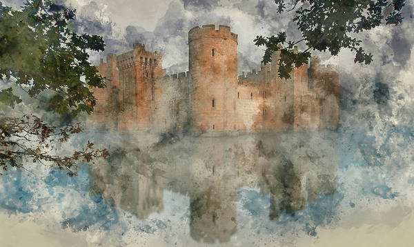 Bodiam Photograph - Watercolor Painting Of Medieval Castle At Sunrise Landscape by Matthew Gibson
