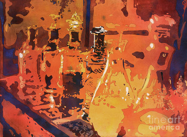 World Heritage Site Painting - Watercolor Painting Of Perfume Bottles In Souq Market In Tunis Tunisia by Ryan Fox