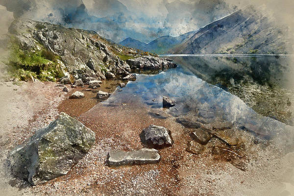 Wast Wall Art - Photograph - Watercolor Painting Of Stunning Landscape Of Wast Water And Lake District Peaks On Summer Day Reflec by Matthew Gibson