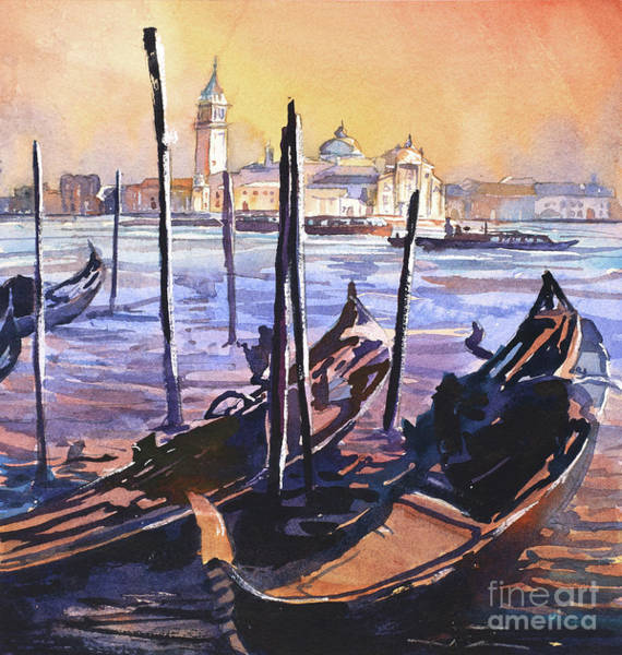 Wall Art - Painting - Watercolor Painting Of Venice At Sunset, Italy Watercolor Painti by Ryan Fox