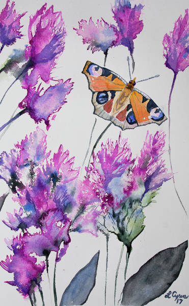 Painting - Watercolor - Peacock Butterfly With Pink Flowers by Cascade Colors