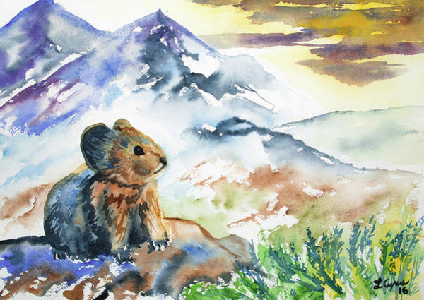 Painting - Watercolor - Pika Watching The Sunset by Cascade Colors