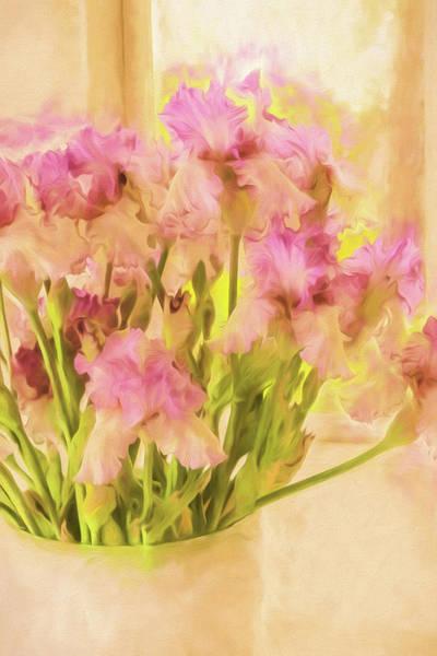 Wall Art - Photograph - Watercolor Pot Of Irises by Bonnie Bruno
