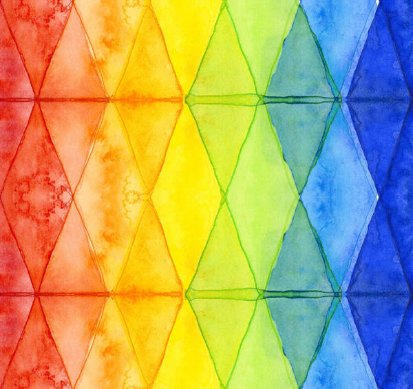 Wall Art - Painting - Watercolor Rainbow Pattern Geometric Shapes Triangles by Olga Shvartsur