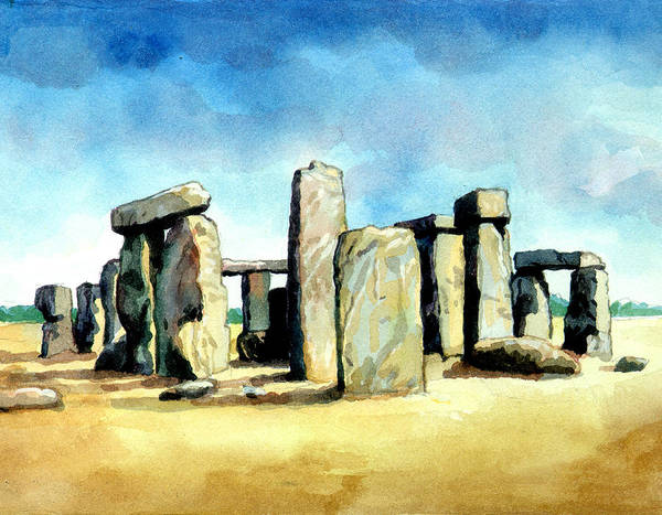 Famous Places Digital Art - Watercolor Rendering Of Stonehenge by Photos.com
