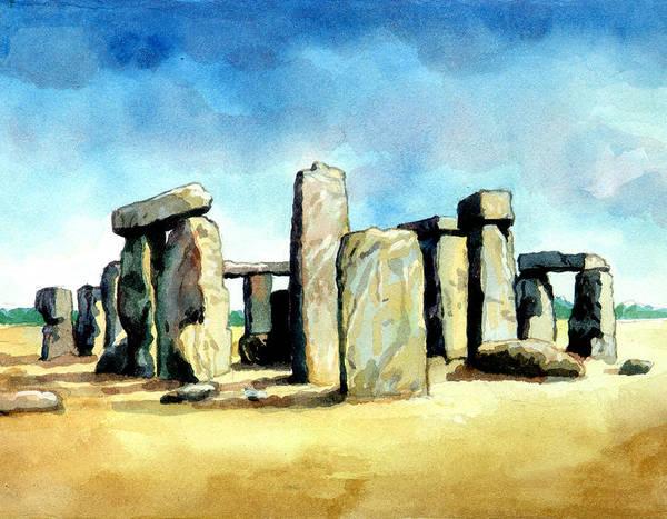 Famous People Digital Art - Watercolor Rendering Of Stonehenge by Photos.com