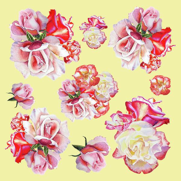 Full Bloom Painting - Watercolor Roses Golden Dance by Irina Sztukowski